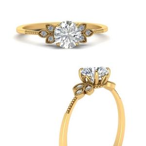 Leaf Diamond Milgrain Ring