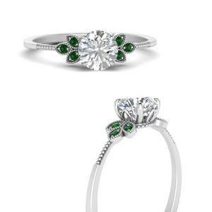 leaf-diamond-round-engagement-ring-with-emerald-in-FD9615RORGEMGRANGLE3-NL-WG