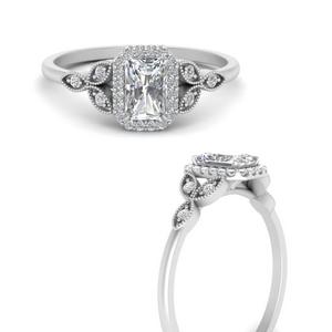 Radiant Side Stone Lab Diamond Rings
