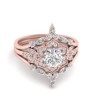 Floral Halo Vintage Diamond Bridal Set