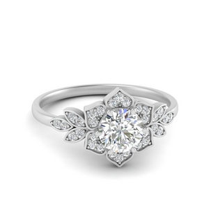 Moissanite Floral Pattern Halo Ring