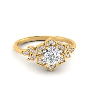 Floral Halo Lab Made Diamond Ring