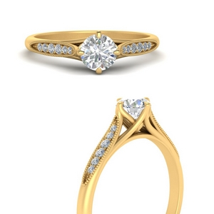 Cathedral Milgrain Engagement Ring