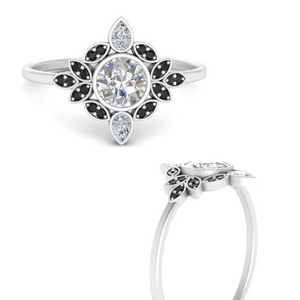 round-bezel-vintage-floral-engagement-ring-with-black-diamond-in-FD9630RORGBLACKANGLE3-NL-WG