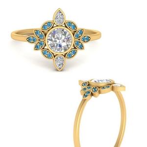 Round Bezel Vintage Floral Ring