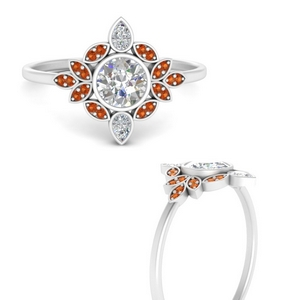 round-bezel-vintage-floral-diamond-engagement-ring-with-orange-sapphire-in-FD9630RORGSAORANGLE3-NL-WG