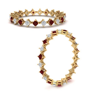 Compass Point Ruby Eternity Band