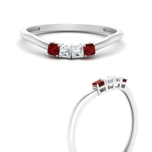Ruby Matching Band For 3 Stone Ring