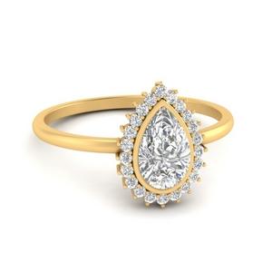Pear Bezel Halo Diamond Ring