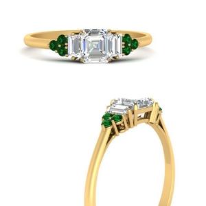 baguette-cluster-asscher-diamond-engagement-ring-with-emerald-in-FD9651ASRGEMGRANGLE3-NL-YG