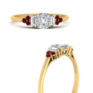 Cushion Side Stone Lab Diamond Rings