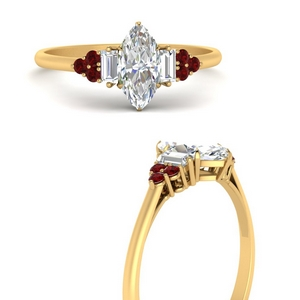 Marquise Diamond Side Stone Rings