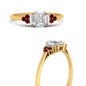Radiant Cut Diamond Side Stone Rings