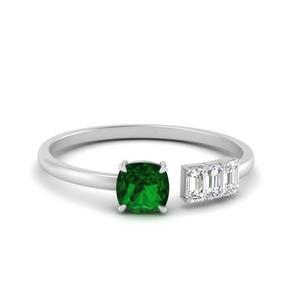 Offbeat Cushion Emerald Ring