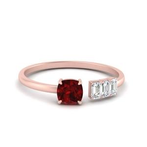 Offbeat Cushion Ruby Ring