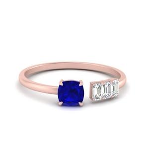 Offbeat Cushion Sapphire Ring