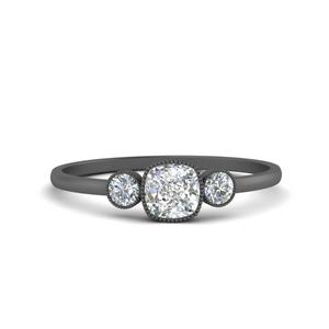 3 Stone Bezel Engagement Ring