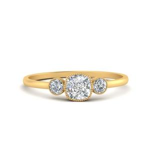 3 Stone Cushion Engagement Rings