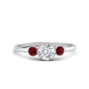 Moissanite Bezel Set Ring With Ruby