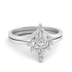 Pear Bezel Wedding Ring Set