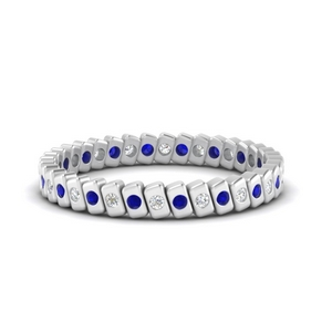 Bezel Set Bar Sapphire Stacking Band