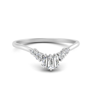 Round Baguette Curved Wedding Band