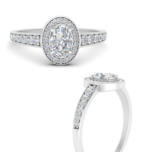 Halo Tapered Shank Diamond Ring