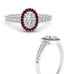 Halo Tapered Shank Ruby Ring