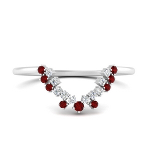 Ruby Curved Band For Oval Ring