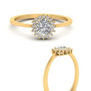 Sunflower Moissanite Halo Ring