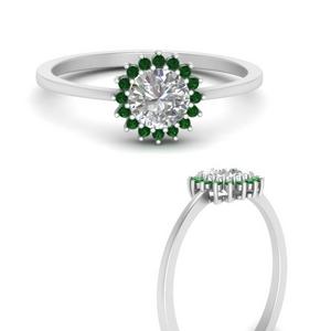 Sunflower Halo Emerald Ring