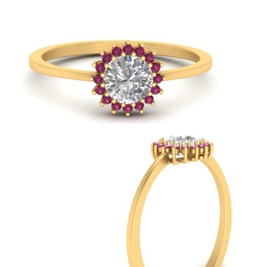 sunflower-round-halo-pink-sapphire-engagement-ring-in-FD9704RORGSADRPIANGLE3-NL-YG