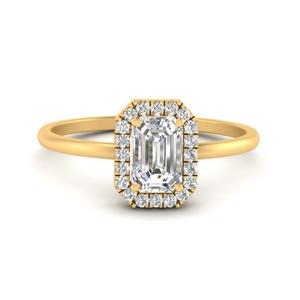 Emerald Cut Halo Diamond Ring