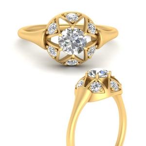 Round Moissanite Antique Star Ring