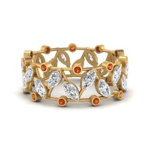 art-deco-marquise-wide-wedding-diamond-band-with-orange-sapphire-in-FD9712BGSAOR-NL-YG