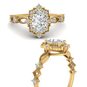 Lab Diamond Halo Art Deco Ring