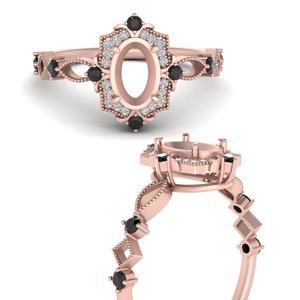 Semi Mount Halo Art Deco Ring