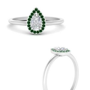 Pear Halo Emerald Ring