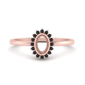 Semi Mount Halo Black Diamond Ring