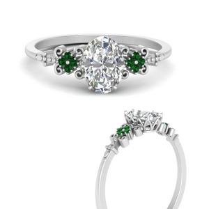 Oval Filigree Emerald Ring