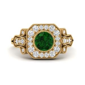 Edwardian Rounded Square Gemstone Halo Ring