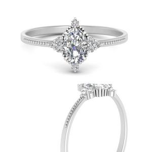 Oval Diamond Side Stone Rings