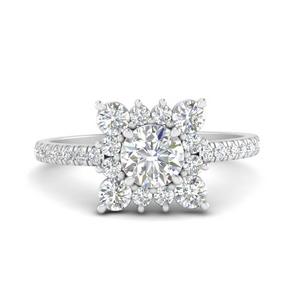Square Moissanite Halo Diamond Ring