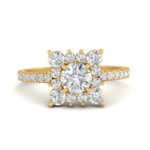 Lab Diamond Square Halo Ring
