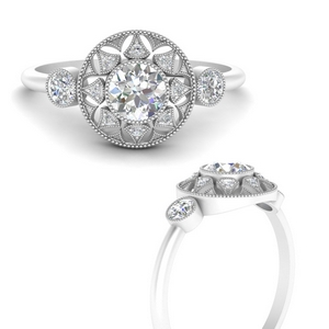 Moissanite Halo Diamond Milgrain Ring