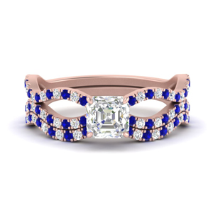 asscher-cut-vintage-twisted-diamond-bridal-ring-set-with-sapphire-in-FD9749ASGSABL-NL-RG