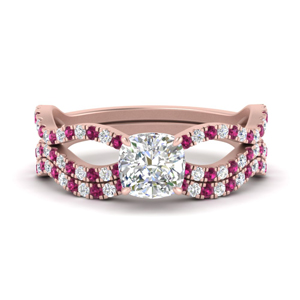 cushion-cut-vintage-twisted-diamond-bridal-ring-set-with-pink-sapphire-in-FD9749CUGSADRPI-NL-RG