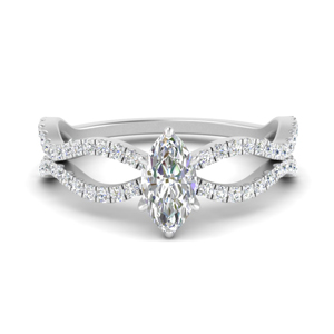 Marquise Wave Pave Diamond Ring