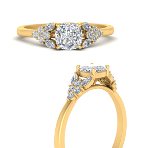 cushion-cut-beautiful-marquise-cluster-diamond-engagement-ring-in-FD9751CURANGLE3-NL-YG