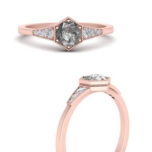 Hexagon Grey Diamond Ring